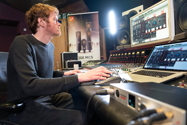 Darren Jones Mixing on his computer